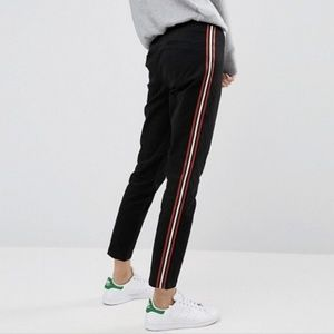 ASOS Pants - Asos | cigarette black trousers with side stripes